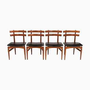 Teak and Leather Model 30 Dining Chairs by Poul Hundevad for Hundevad & Co., 1950s, Set of 4
