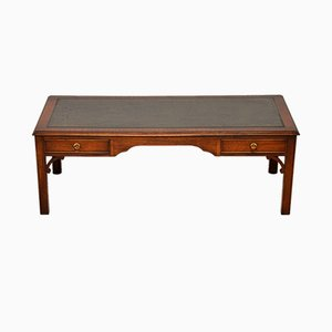 Large Georgian Mahogany and Leather Coffee Table from Bevan Funnel, 1950s