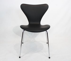 Black Leather Model 3107 Dining Chair by Arne Jacobsen for Fritz Hansen, 1980s