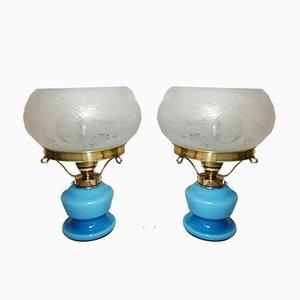 Lampes de Bureau Bleu Clair en Verre Opalin, Laiton et Verre Givré, années 40, Set de 2