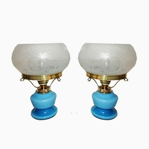 Light Blue Opaline Glass, Brass, and Frosted Glass Table Lamps, 1940s, Set of 2