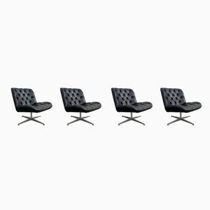 Mid-Century Black Leather Swivel Lounge Chairs, Set of 4