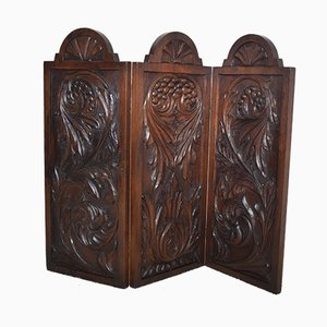 Small Antique Carved Oak Three-Panel Room Divider