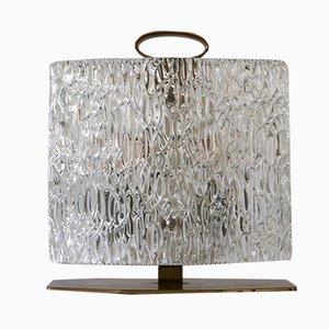 Italienische Mid-Century Tischlampe aus Eisglas, 1950er