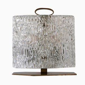 Lampe de Bureau Mid-Century en Verre Givré, Italie, années 50