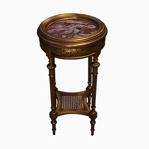 Round Antique French Gilt and Red Marble Side Table