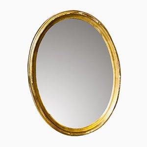 Antiker ovaler französischer Spiegel mit goldenem Rahmen