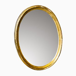 Antique French Golden Oval Mirror