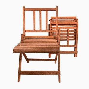 Beech Folding Chairs, 1950s, Set of 2