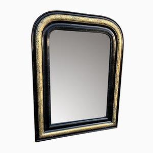 Antiker Französischer Louis Philippe Spiegel mit Rahmen aus geschnitztem Holz & Gesso in Schwarz, Silber & Gold