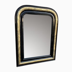 Espejo francés Louis Philippe antiguo de madera tallada y gesso en negro, plata y dorado