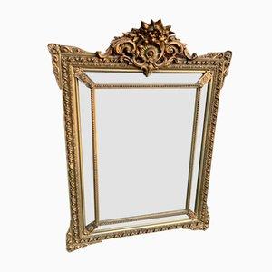 Antiker französischer Spiegel mit Rahmen aus vergoldetem Holz & Gesso