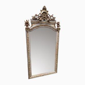 Großer antiker Spiegel mit Rahmen aus Holz & Gesso in Silber & Gold