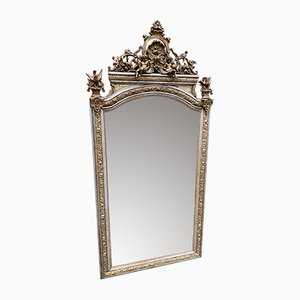 Large Antique French Silver and Gilded Carved Wood and Gesso Mirror