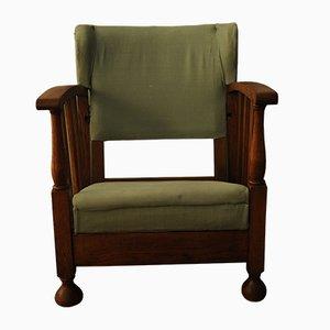 Chaise de Voyage Inclinable Art Nouveau en Bois, années 20