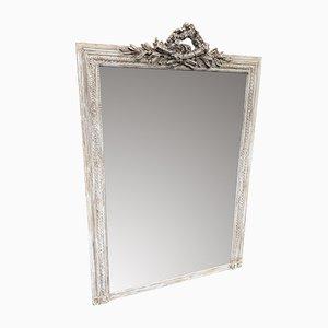 Großer antiker Spiegel mit Rahmen aus geschnitztem Holz & Gips