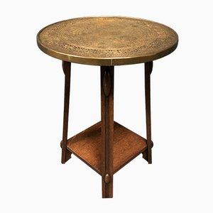Art Deco Dutch Oak and Brass Side Table, 1920s