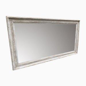 Großer antiker französischer Bistro Spiegel mit Rahmen aus Holz & Gesso