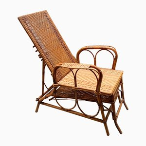 Italian Rattan and Malacca Lounge Chair, 1920s