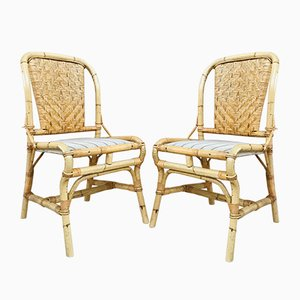 Mid-Century Bamboo Chairs, Set of 2