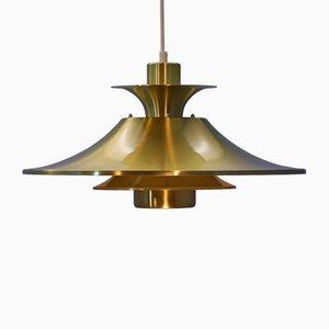 Dänische Deckenlampe aus Messing, 1970er