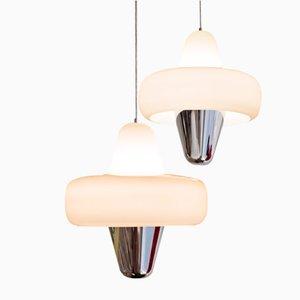 Lampada in vetro e acciaio di Guillaume Delvigne