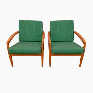 Green Paper Knife Armchairs by Kai Kristiansen for Magnus Olesen, 1950s, Set of 2