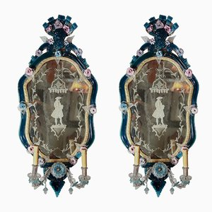 18th Century Italian Glass Mirrors, Set of 2