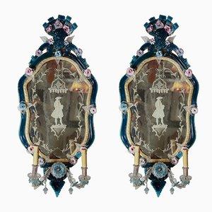 Italienische Spiegel mit Glasrahmen, 18. Jh., 2er Set