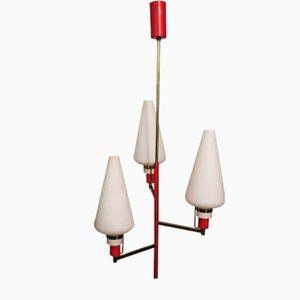 Mid-Century Deckenlampe aus Messing & Milchglas