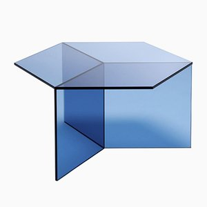 Clear Glass Isom Square Coffee Table by Sebastian Scherer