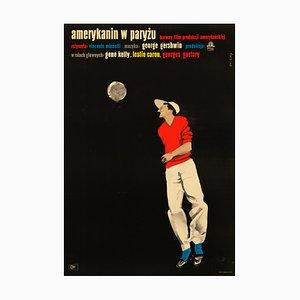 Poster vintage del film An American in Paris di Waldemar Swierzy, 1958