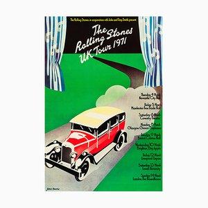 Poster vintage del tour inglese dei Rolling Stones di John Pasche, 1971