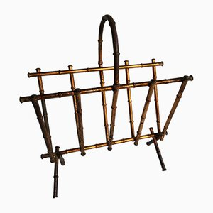 Vintage Gilded Wrought Iron Magazine Rack, 1950s