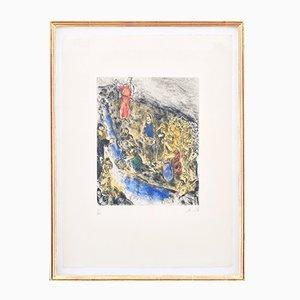 Gravure à l'Eau-Forte « Moïse frappant l'eau du rocher » par Marc Chagall, 1958