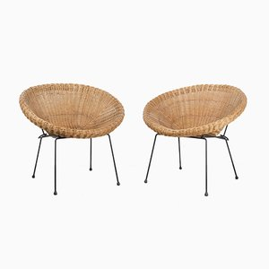 Round German Wicker Lounge Chairs, 1960s, Set of 2