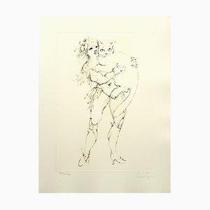 Litografía The Cat and the Woman de Leonor Fini, 1986