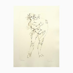 The Cat and the Woman Lithograph by Leonor Fini, 1986