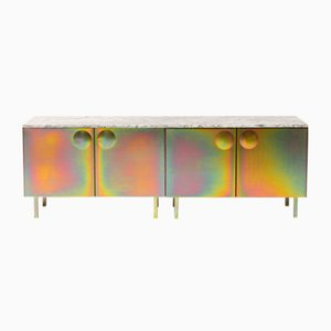 Galvanized Steel and Marble Bump Cabinet by Jan Plechac & Henry Wielgus