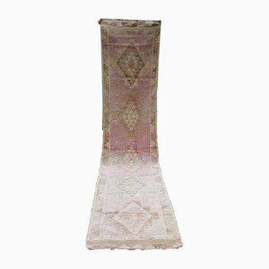 Alfombra de pasillo Oushak de lana rosa y rosa, años 70