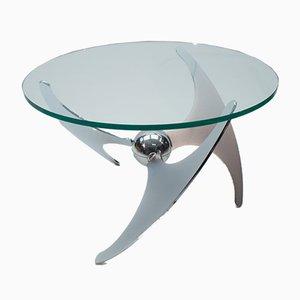 Mesa de centro italiana ajustable de acero y vidrio de L. Campanini para Cama, años 70