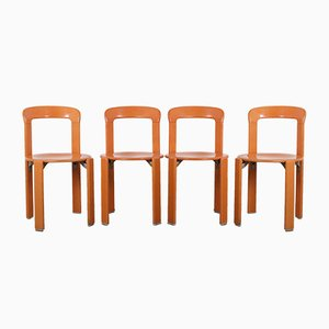 German Model 33 Stackable Orange Dining Chairs by Bruno Rey for Dietiker, 1970s, Set of 4