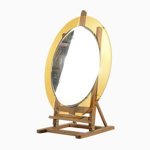 Espejo italiano oval de vidrio amarillo, años 70