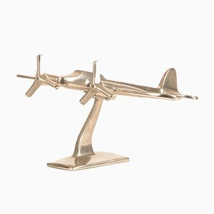 Italian Chromed Metal Airplane Model from L'Oca Nera, 1990s