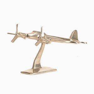 Italienisches Flugzeugmodell aus verchromtem Metall von L'Oca Nera, 1990er