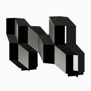 Black Sculptural Rocky Shelves by Charles Kalpakian