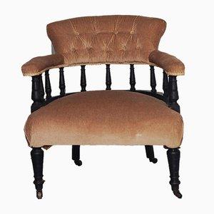 Sedia vittoriana antica in velluto ebanizzato, pelle nera e mogano
