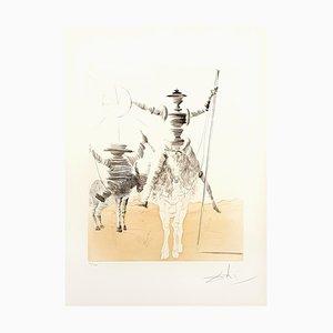 Aguafuerte Don Quijote y Sancho de Salvador Dali, años 80