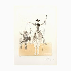 Dan Quixote and Sancho Etching by Salvador Dali, 1980s