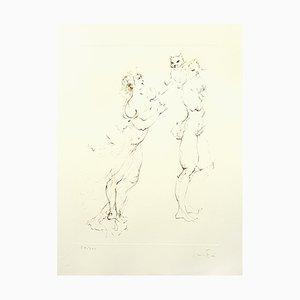 Litografia Playful Cat di Leonor Fini, 1986
